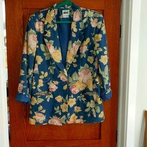 Vintage Leslie Fay blue floral blazer size16